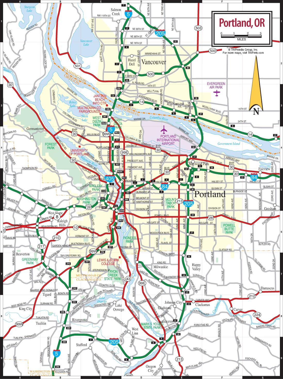 Portland Oregon road map - Portland road map (Oregon - USA)