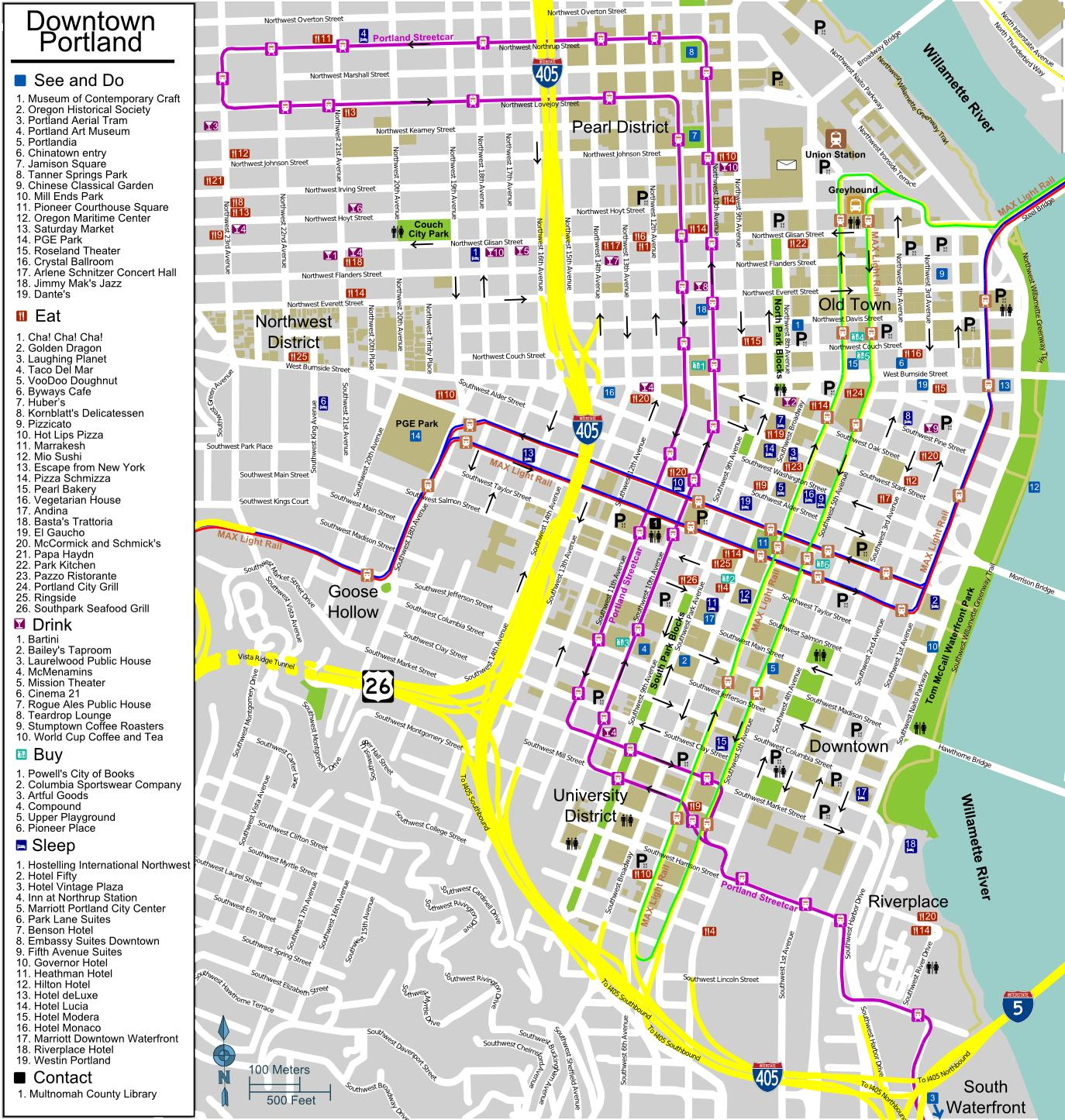 Portland Oregon tourist map - Tourist map of Portland Oregon (Oregon ...