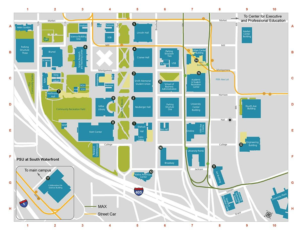 Portland state Campus map   PDX Campus map (Oregon   USA)