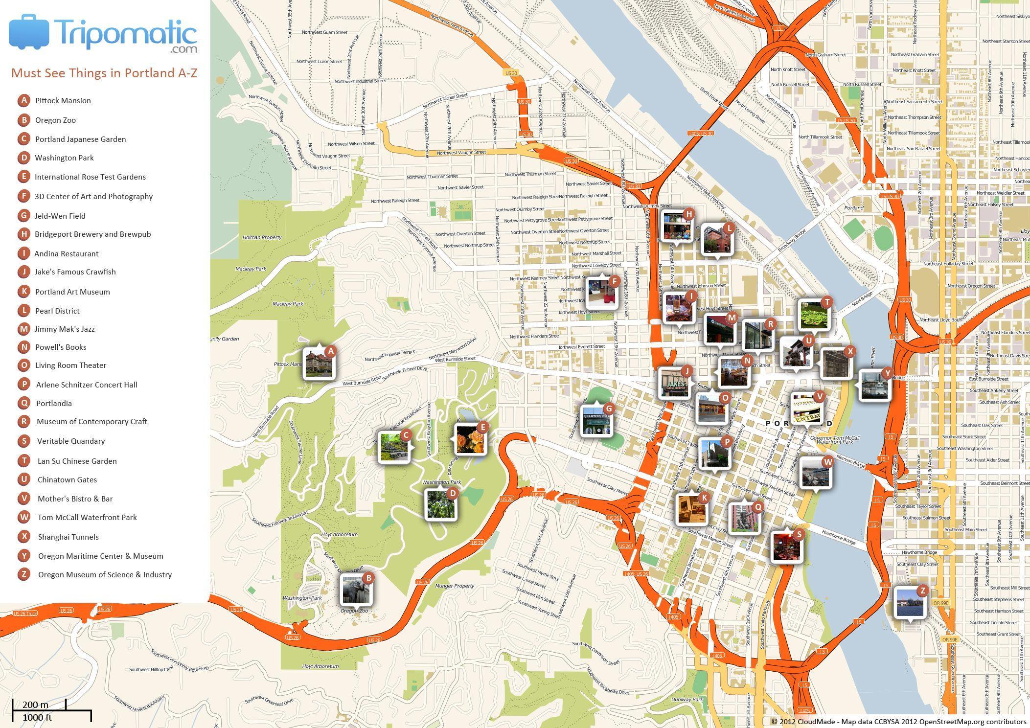 portland walking tour map Portland Walking Tour Map Portland Walking Map Oregon Usa portland walking tour map