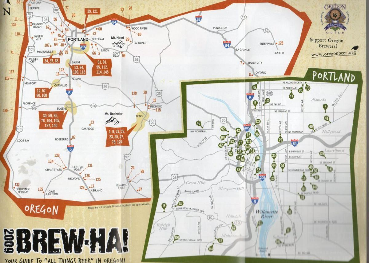 map of breweries in Portland Oregon