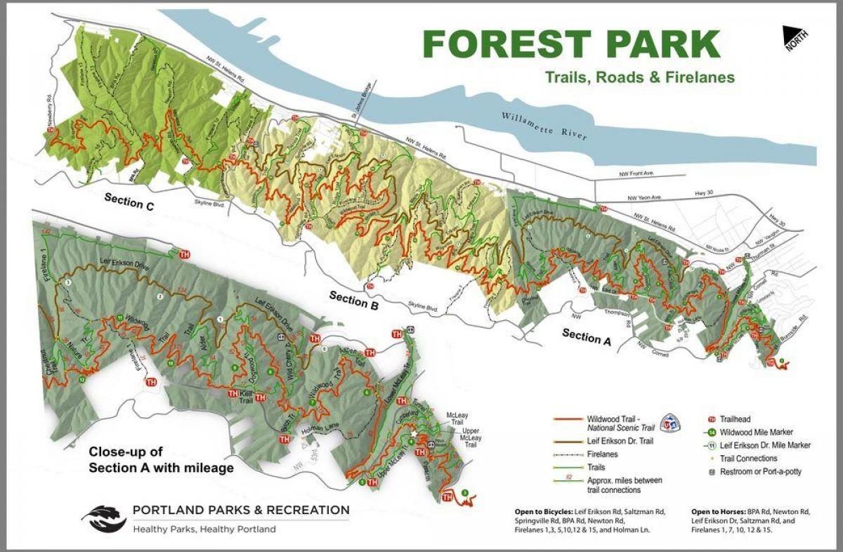 map of Forest Park Portland Oregon