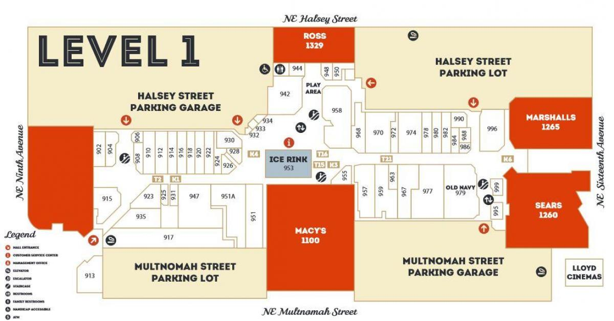 Lloyd Center mall map