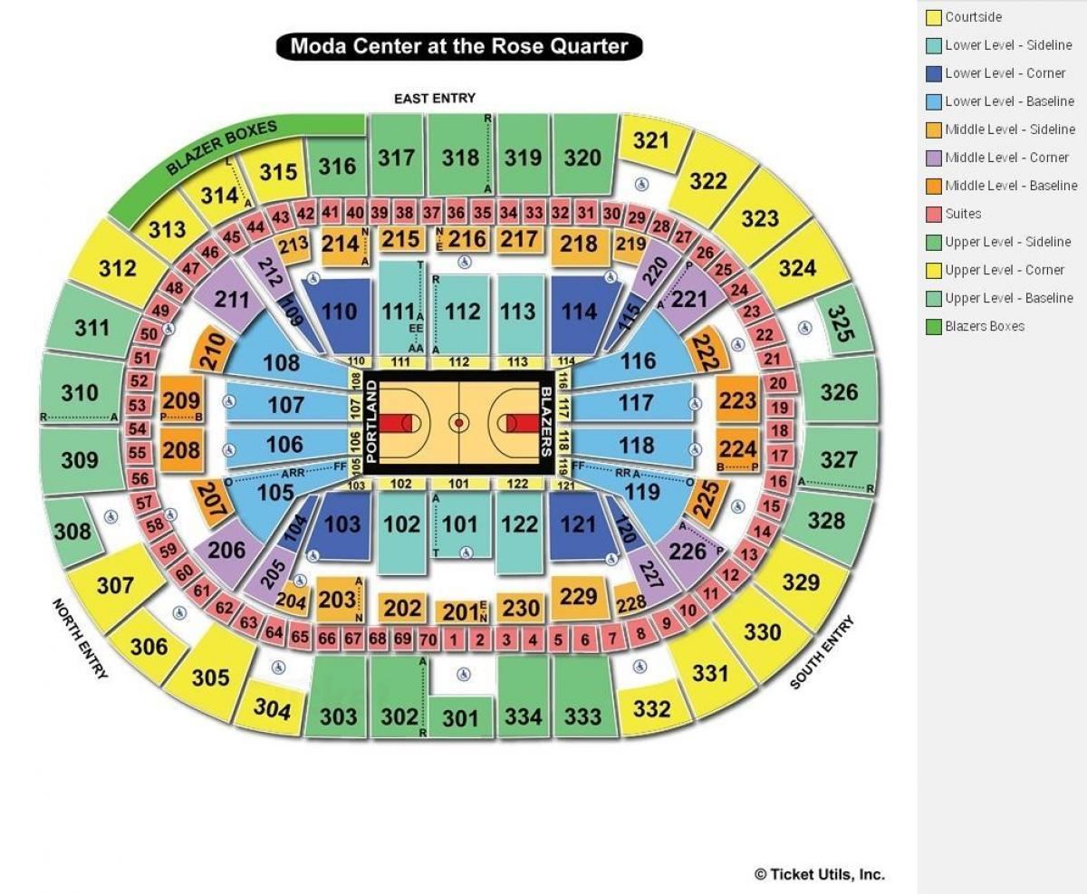 map of Moda Center