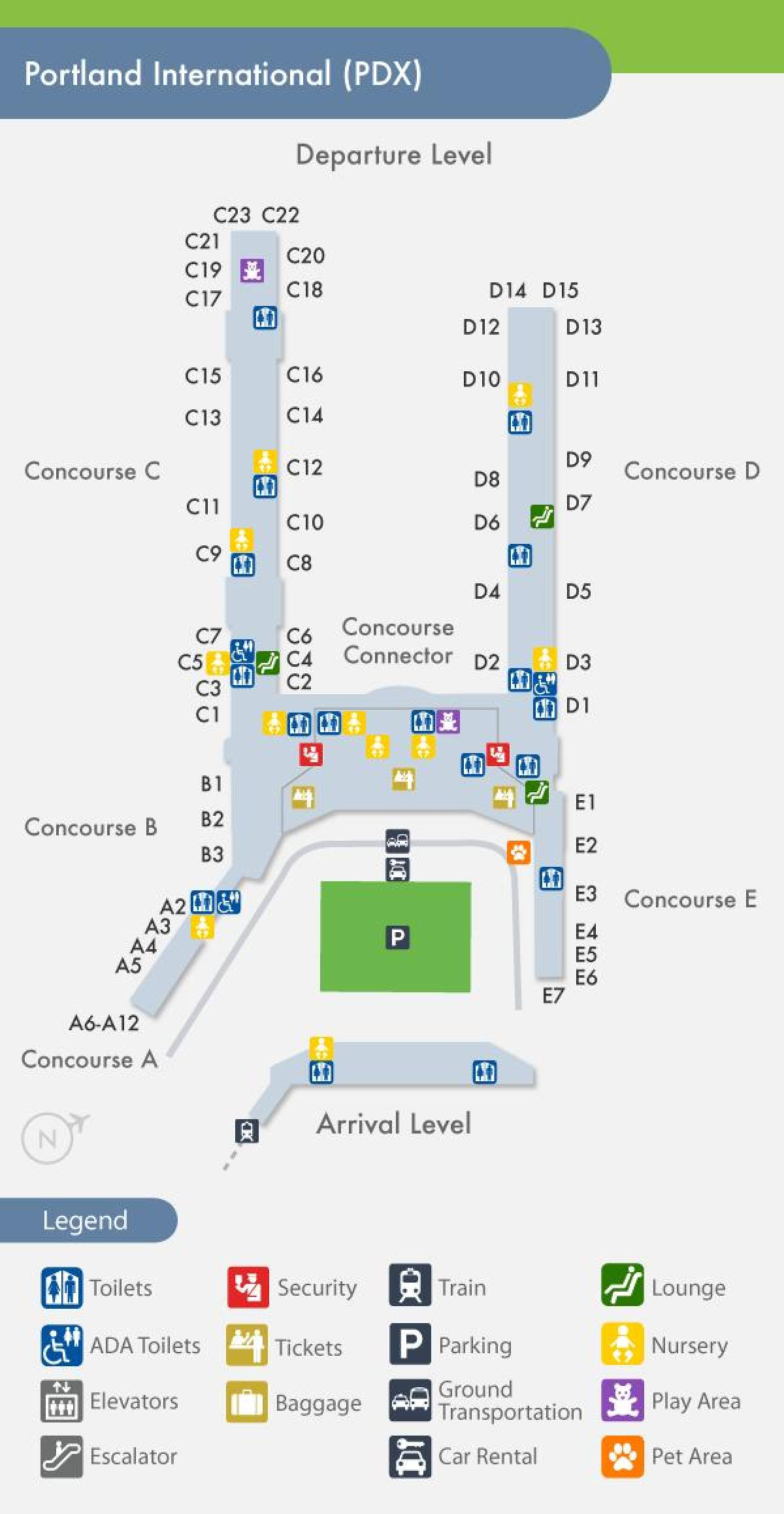 PDX map of airport
