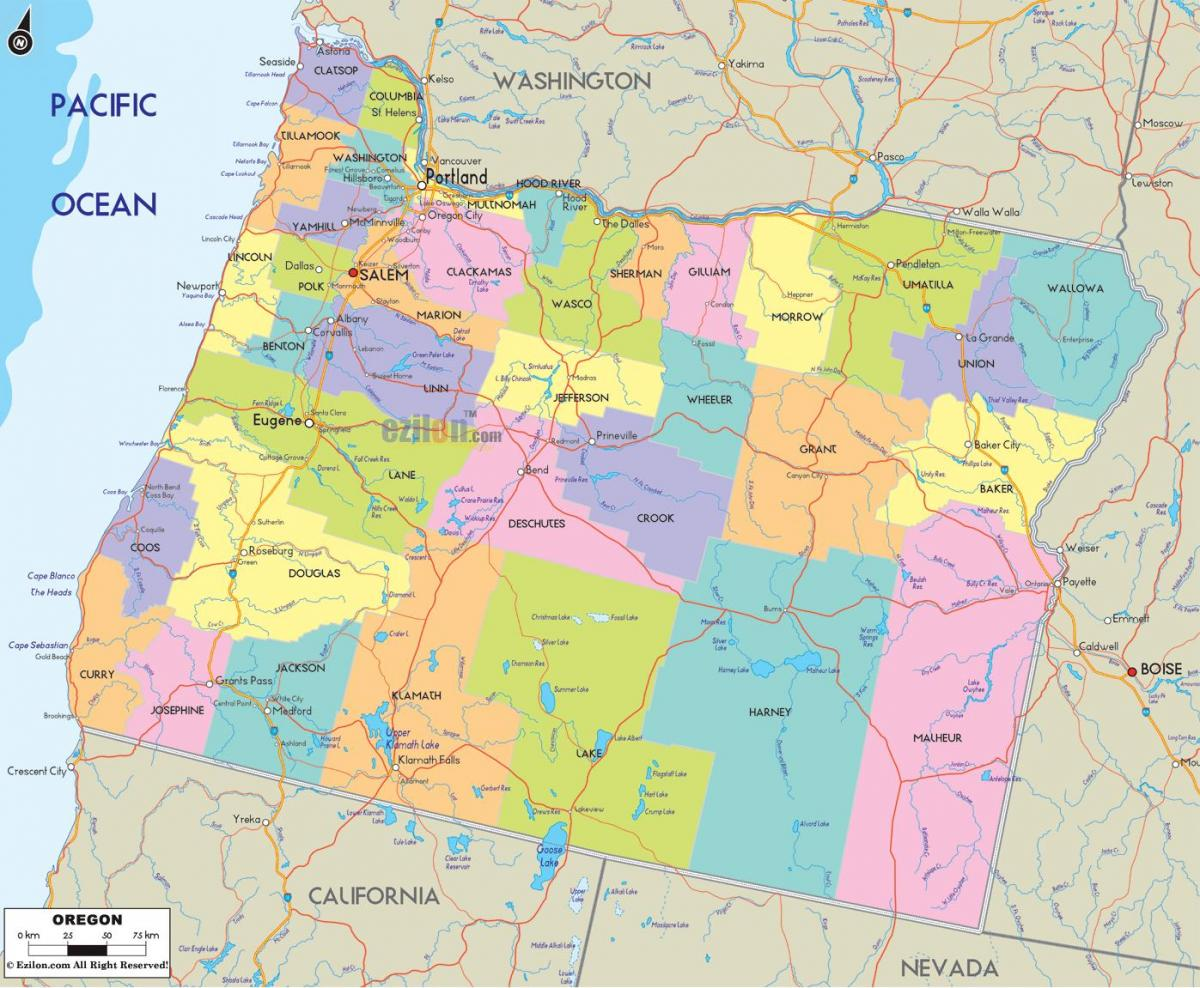 Portland Oregon county map