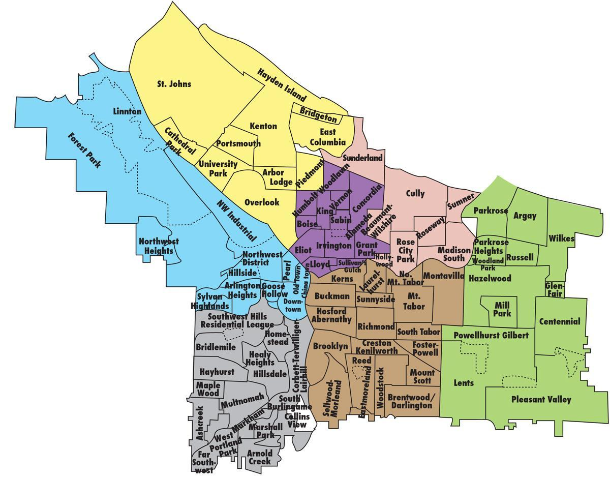map of Portland districts