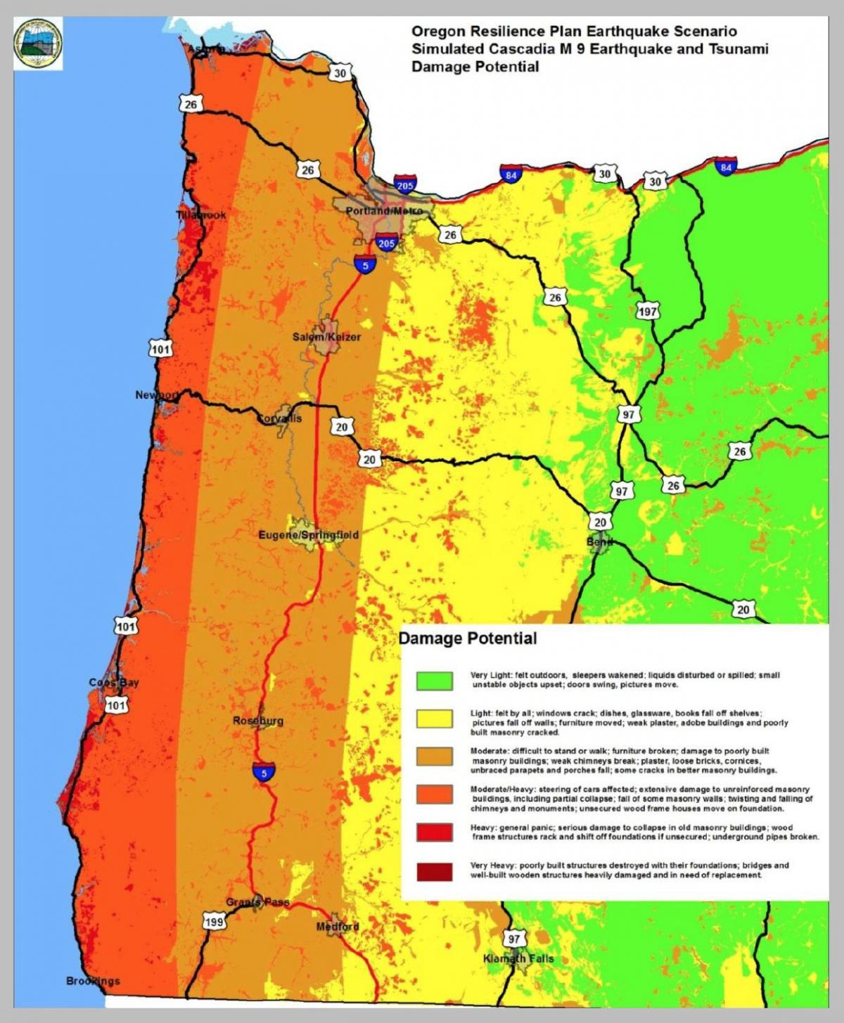 earthquake map Portland