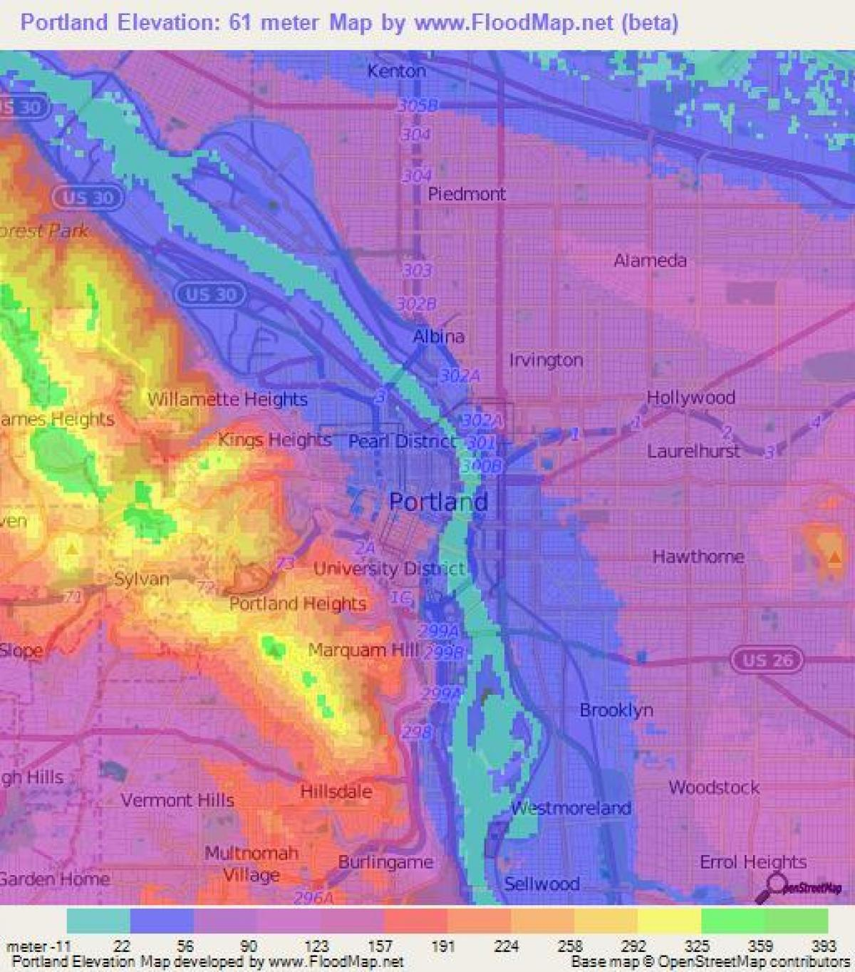 San Jose Elevation Map.Portland Elevation Map Portland Oregon Elevation Map Oregon Usa