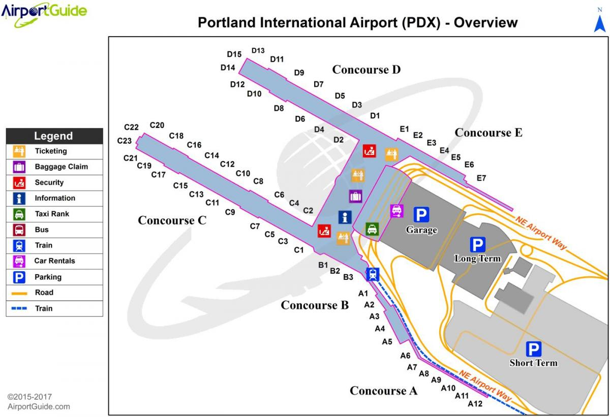 map of Portland international airport