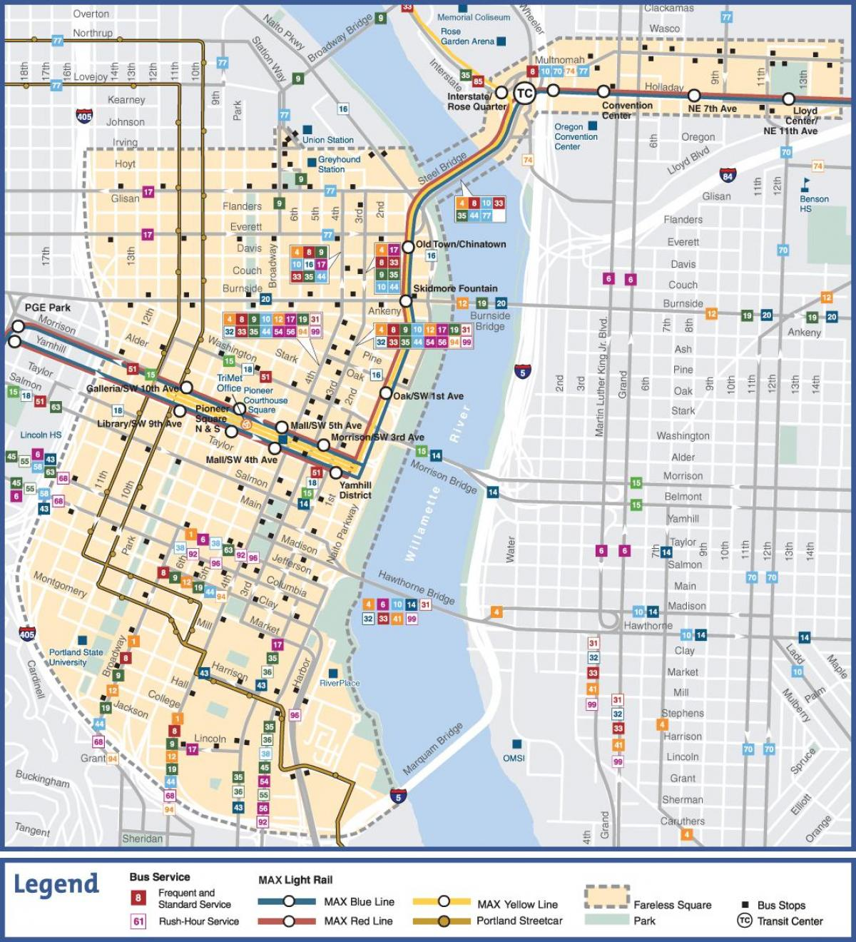 light rail map Portland