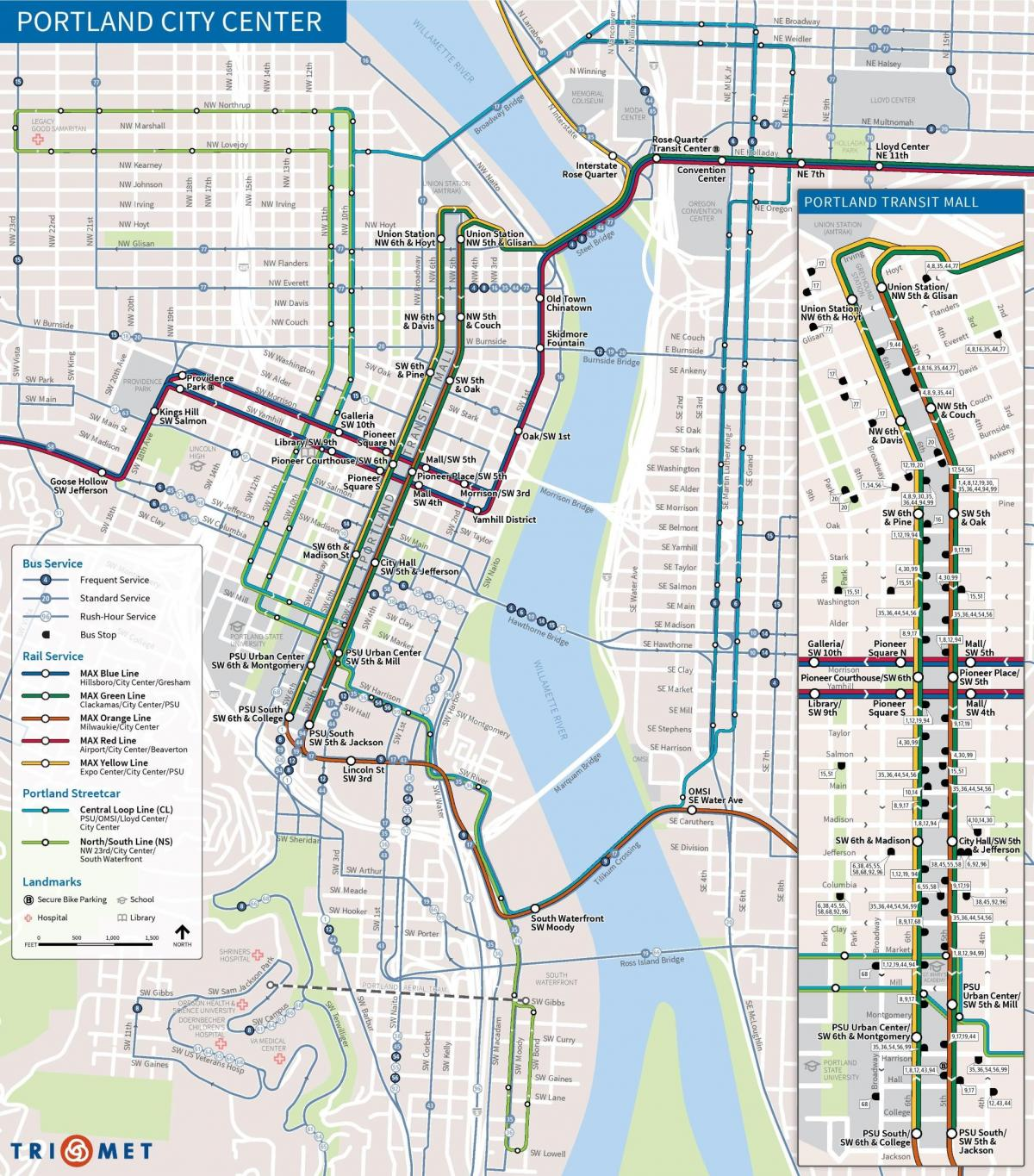 Portland Oregon transit map