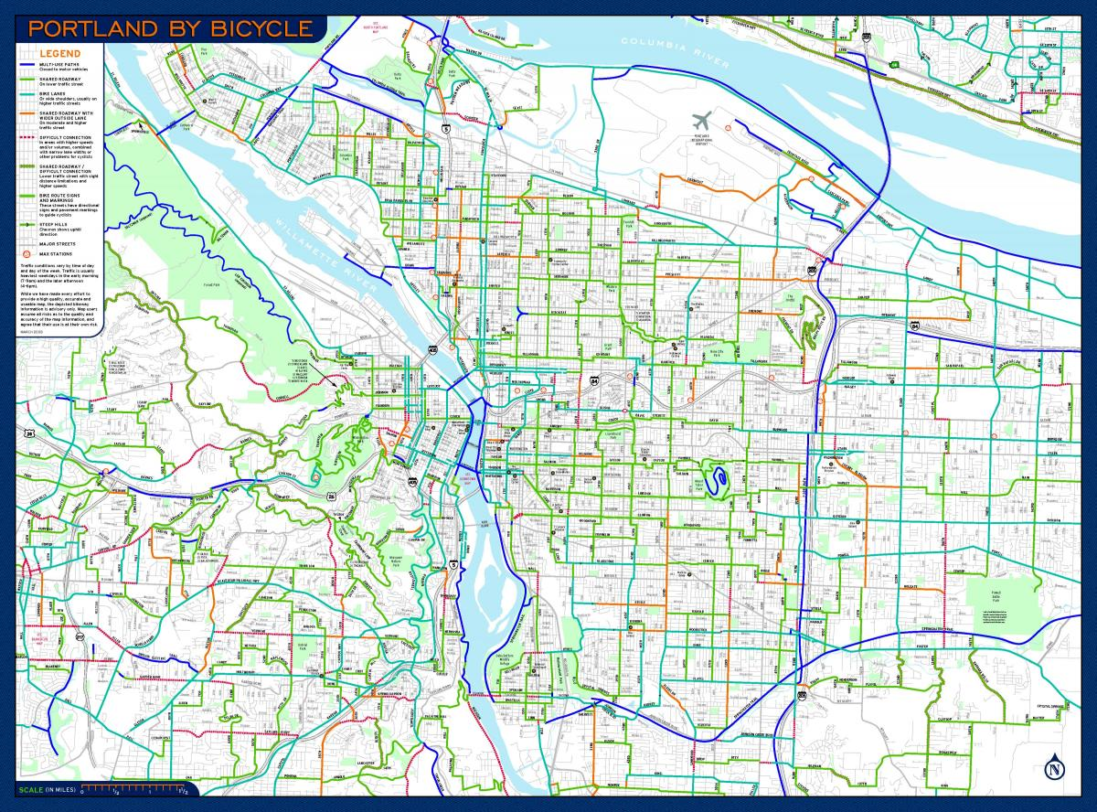 Portland Oregon Bike Map Map Of Portland Oregon Map Oregon Usa