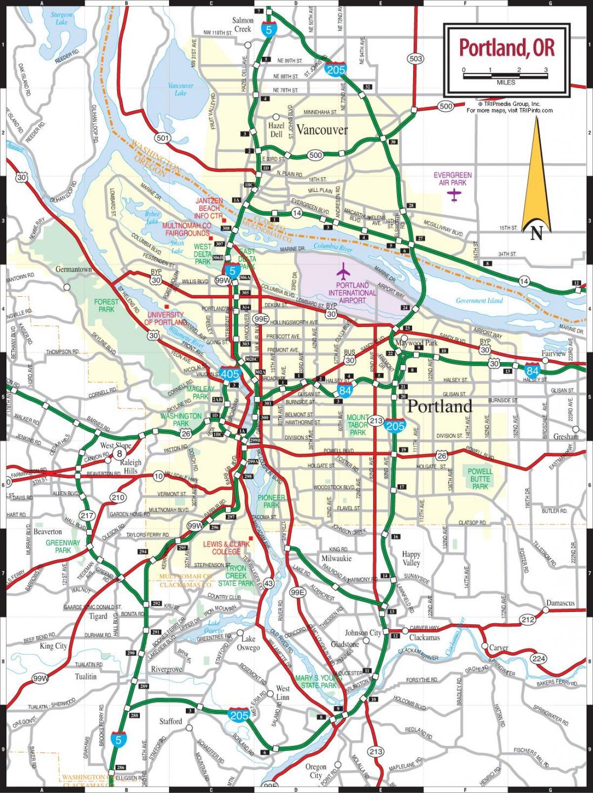 Portland Oregon Road Map Portland Road Map Oregon Usa