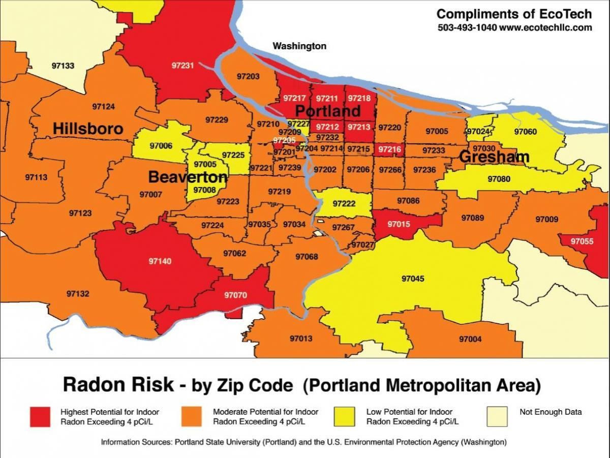 Portland zip code map - Zip code map Portland (Oregon - USA)