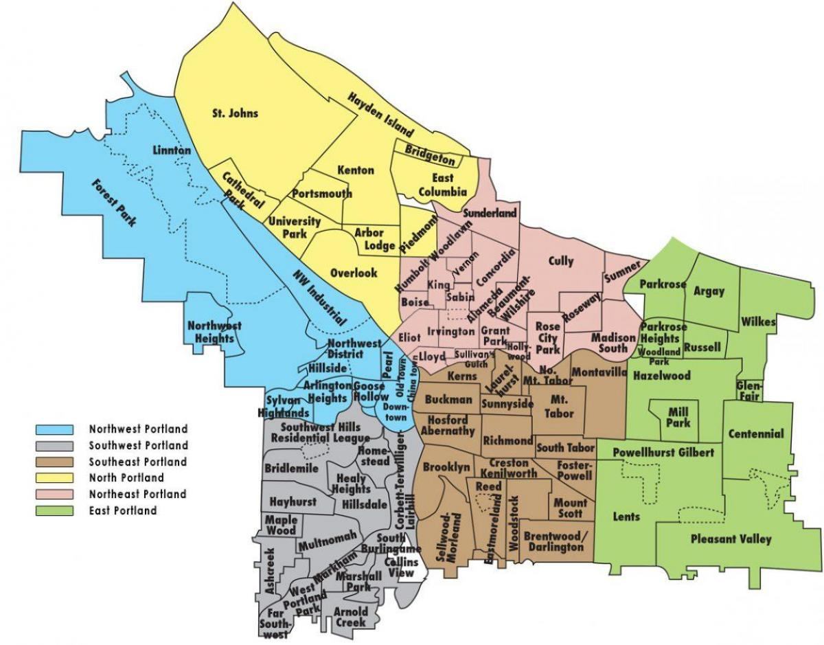 Portland zoning map - Zoning map Portland (Oregon - USA)