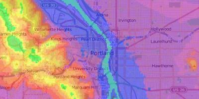 Elevation map Portland Oregon